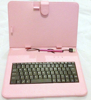 "10 ""Inch PU Leather Pink Case Cover USB Keyboard Stylus with for Android Tablet"