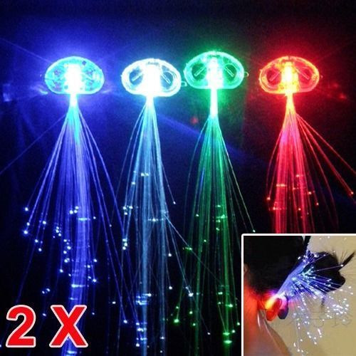 2x LED Hair Extensions Girls Party Clip Pony Tail Fiber Optic Light Up Gift