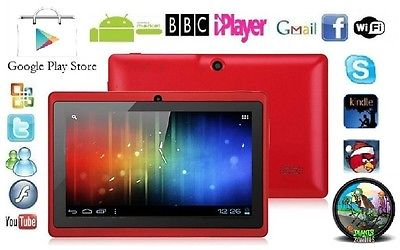 "7"" INCH RED DUAL CAMERA ANDROID 4.0.4 TABLET PC Allwinner A13 NETBOOK 4G GIFT"