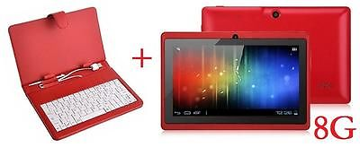 "7"" INCH RED DUAL CORE CAMERA ANDROID 4.4 TABLET  A23 8G + BUNDLE KEYBOARD CASE"