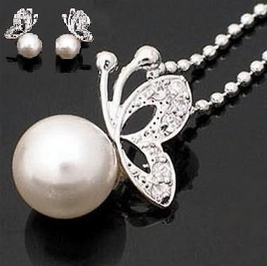Fashion Silver Pearl Butterfly Stud Earrings And Necklace Set Gift