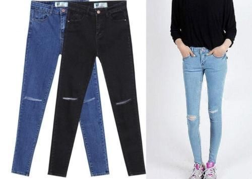 FASHION TRENDY WOMEN LADIES GIRLS SKINNY SLIM JEANS RIPPED CUT OUT PANTS
