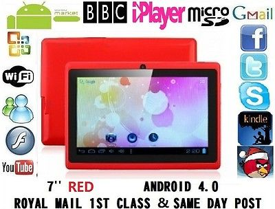 "NEW 7"" INCH ANDROID 4.0.4 TABLET PC Allwinner A13 MID EPAD NETBOOK RED 4G GIFT"
