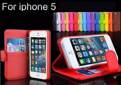 New Colourful Wallet Flip Leather Case Cover Pouch Protector For iPhone 5 Gift
