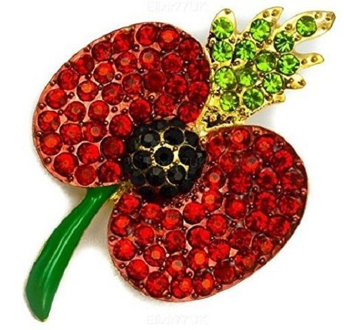 New Poppy Flower Brooch Lapel Pin Fashion Crystal Red Flower Badge Pin Broach