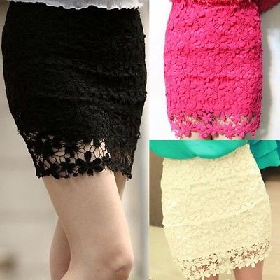 Vintage Crochet Embroidery Floral Lace Double Layer Lining Bodycon Short Skirt