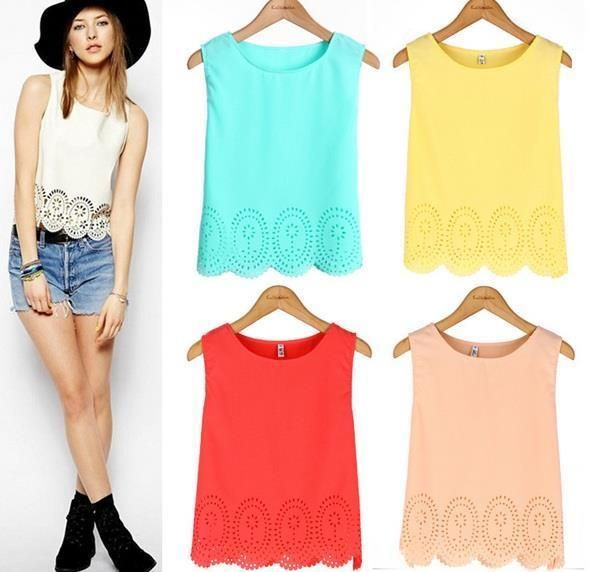 Women Girls Chiffon Sleeveless Hollow Crochet Camisole Casual Vest Tank Top