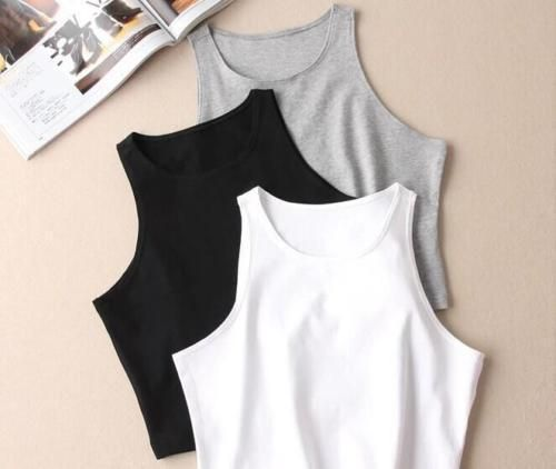 Women Girls Cropped Tee Shirt Turtle Sleeveless Round Neck Stretch Vest Tank Top