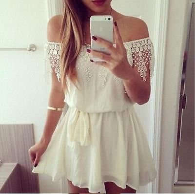 Women Girls Off Shoulder Lace Chiffon Cocktail Party Long Tops Mini Dress