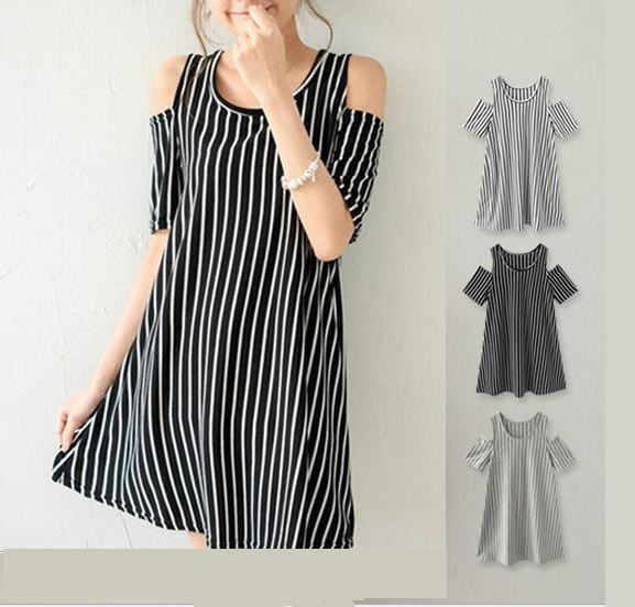 WOMEN GIRLS OFF SHOULDER TOP STRIPE DRESS