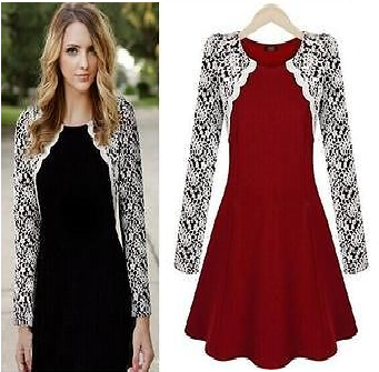 LADIES CELEBRITY STYLE SKATER DRESS WHITE LACE LONG SLEEVE PARTY DRESS